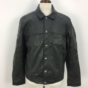 Perry Ellis Gray Faux Leather Button Down Jacket